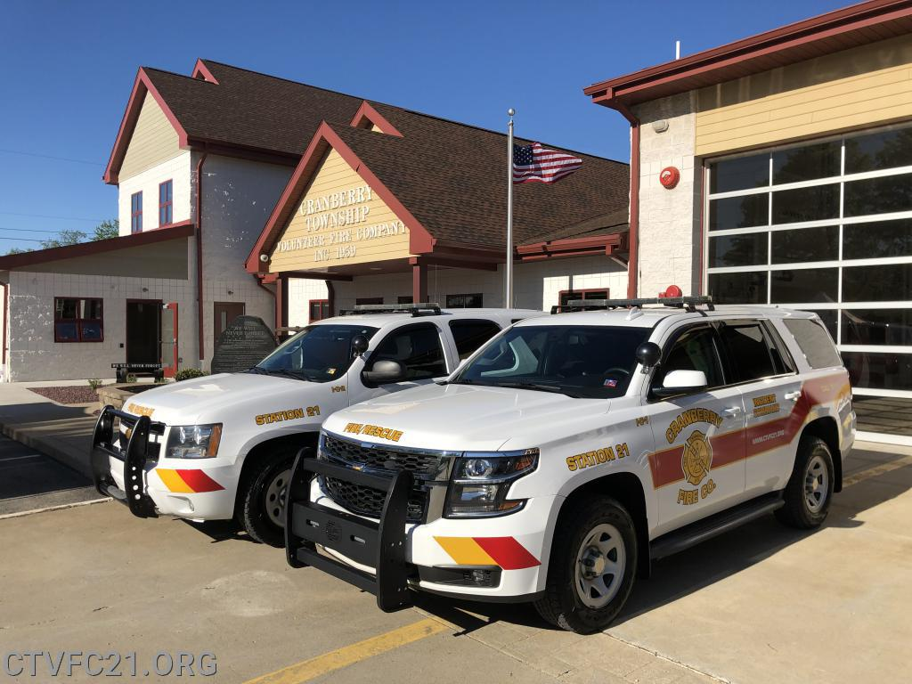 <b>Incident Command Vehicles</b><br> <b>IC 21-2</b> - <i>2013 Chevy Tahoe</i><br> <b>IC-21</b> - <i>2015 Chevy Tahoe</i><br>
