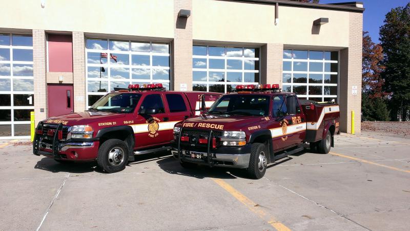 <b>Squad 21-2</b> - <i>2005 GMC Sierra 3500</i> <br> <b>Squad 21</b> - <i>2001 Chevy Silverado 3500</i>