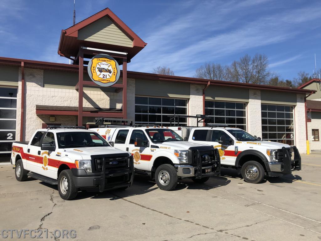 <b>Fire Police 21-3</b> - <i>2013 Ford F150</i><br /> <b>Fire Police 21-2</b> - <i>2012 Ford F250 Super Duty</i><br /> <b>Fire Police 21</b> - <i>2017 Ford F550</i><br>